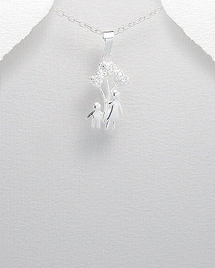 Mother Child or Sister Brother Triple Heart Shaped CZ Balloon Pendant Necklace