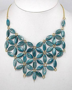 Genuine Turquoise Mother of Pearl Flower Bib Statement Necklace Gold Tone