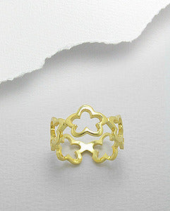 Sterling Silver & 18K Gold Plated Flower Band Ring
