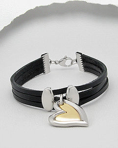 Double Heart Charm Triple Strand Black Leather Bracelet