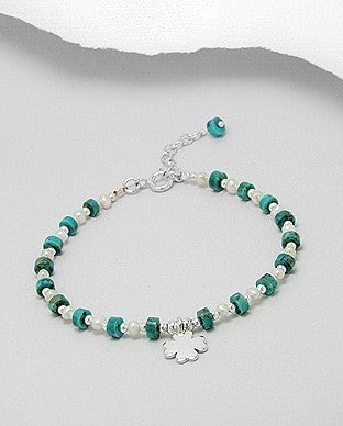 Delicate Pearl Turquoise Clover Shamrock Charm Bracelet Sterling Silver 925