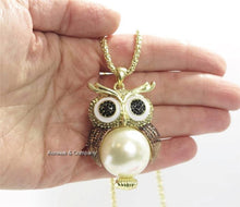 Load image into Gallery viewer, Owl Necklace Topaz Rhinestone Faux Cream Pearl 26 inches