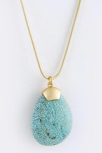 Large Turquoise Teardrop Matte Gold Necklace