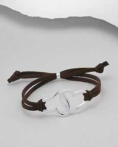 Sterling Silver Double Heart Suede Bracelet