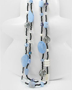 Blue Agate Onyx Glass MOP White Coral Necklace