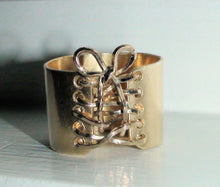 Load image into Gallery viewer, Corset Ring Gold Statement Ring Wide Band Tied up Boho Ring Brass