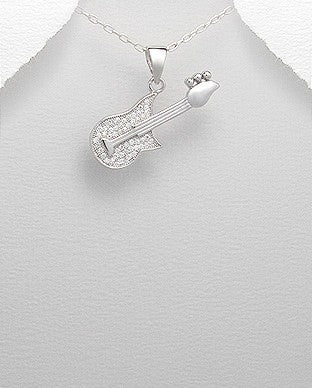 Micro Paved CZ Electric Guitar Pendant Sterling Silver 925