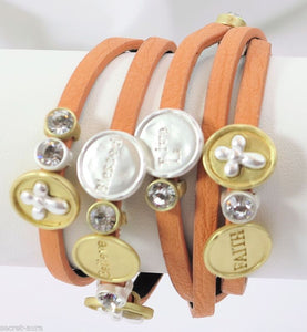 Two-tone Peach Orange Leather Cross Rhinestone Believe Live Wrap Bracelet