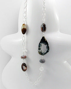 Botswana Agate Slice Beads and Polka Dot Glass Necklace