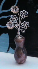 Load image into Gallery viewer, Miniature Sterling Silver Flowers in Mauve Marble Vase