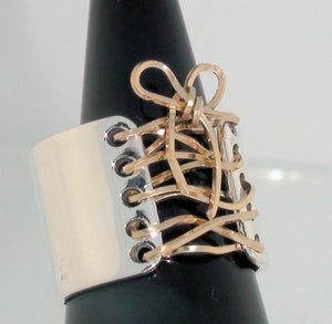 14K Gold Wire & Sterling Silver Corset Ring Handmade
