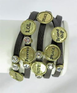 Chocolate Leather Clear Rhinestone Words Forever Hope Peace Wrap Bracelet