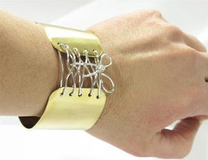 Brass Sterling Silver Wire Tied up Bow Corset Wide Cuff Bangle Bracelet