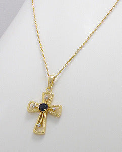14K GP Black Sapphire White Topaz Cross Necklace 925