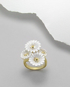 14K Gold Sterling Silver Frosted Flowers Ring