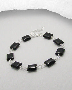 Onyx & Sterling Silver Adjustible Bracelet