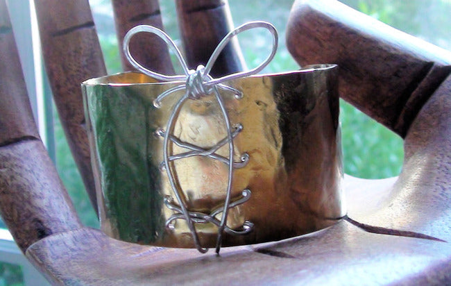Brass Sterling Silver Corset Cuff Bracelet with Bow