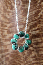 Load image into Gallery viewer, Dainty Turquoise Bead Sterling Wire Circle Necklace