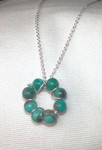 Dainty Turquoise Bead Sterling Wire Circle Necklace