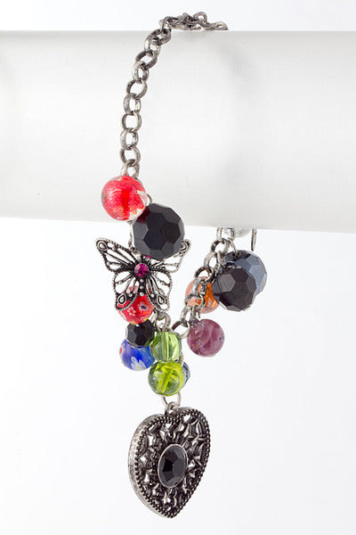 Romantic Heart Charm Glass Bead Charms Bracelet