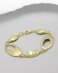 Sterling Silver 14K Plated Hammered Oval Link Bracelet