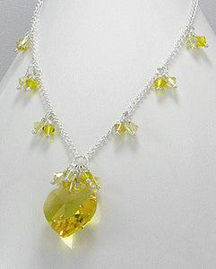 Yellow Swarovski Crystal Glass Heart Necklace Sterling Silver