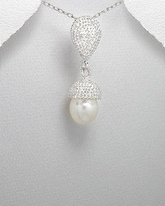 Sterling Silver Teardrop & Pearl Drop Necklace