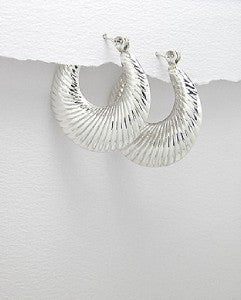 Sterling Silver Fluted  Hoop Earrings Snap Bar Closure