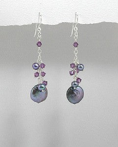 Sterling Black Coin Pearls & Swarovski Crystal Earrings