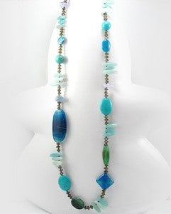 Blue Agate Turquoise Natural Stone & Glass Necklace 36""