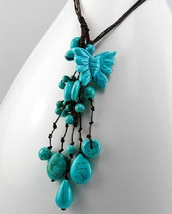 Carved Turquoise Butterfly Tear Drops Necklace