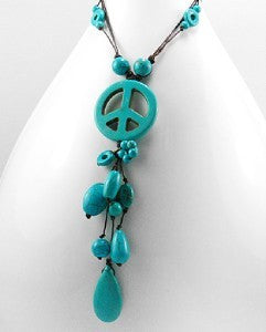 Turquoise Boho Peace Sign Beaded Necklace 18""