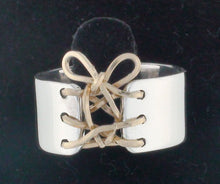 Load image into Gallery viewer, Auralee's Mini Corset Ring Sterling Silver 14K Gold Filled Corset Ring
