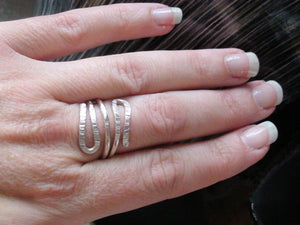 Sterling Silver Hammered Double Wrap Bypass Ring