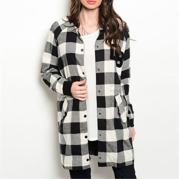 Black White Check Plaid Coat Jacket Snap Closures