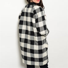 Load image into Gallery viewer, Black White Check Plaid Coat Jacket Snap Closures