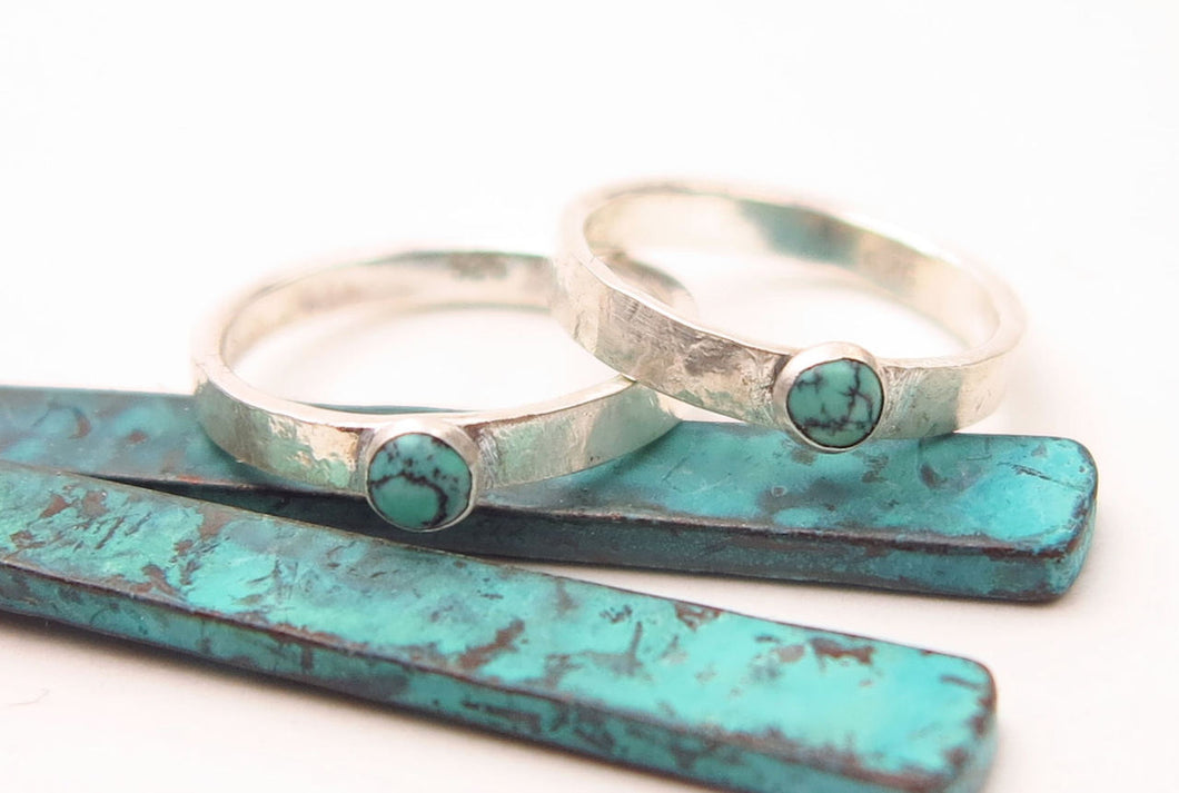 Handmade Genuine Turquoise Cabachon Hammered Sterling Silver Stack Ring Thumb Ring