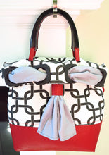 Load image into Gallery viewer, Abstract Black White Cotton Red Leather Convertible Handbag Purse Tote w/ Removable sash OOAK