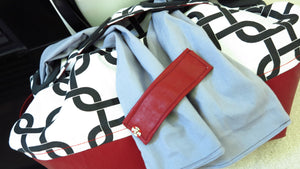 Abstract Black White Cotton Red Leather Convertible Handbag Purse Tote w/ Removable sash OOAK