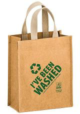 WASHABLE KRAFT PAPER TOTE BAG WITH WEB HANDLE
