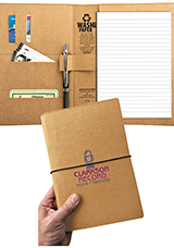 WASHABLE KRAFT PAPER PADFOLIO WITH STRAP CLOSURE (6X9)