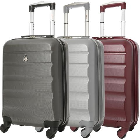Aerolite (55x35x20cm) Hard Shell Cabin Luggage | Charcoal + Silver + Wine