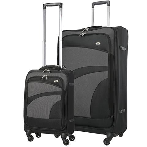 Aerolite Soft Shell Luggage Set | Cabin & Large | Black & Grey