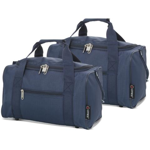 5 Cities (40x20x25cm) Holdall Bag (x2 Set) | Navy