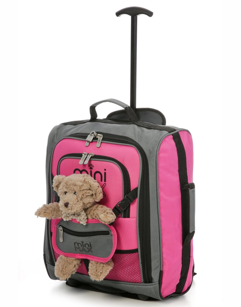 MiniMAX (45x35x20cm) Childrens Luggage Carry On Suitcase with Backpack and Pouch (Pink + Green)