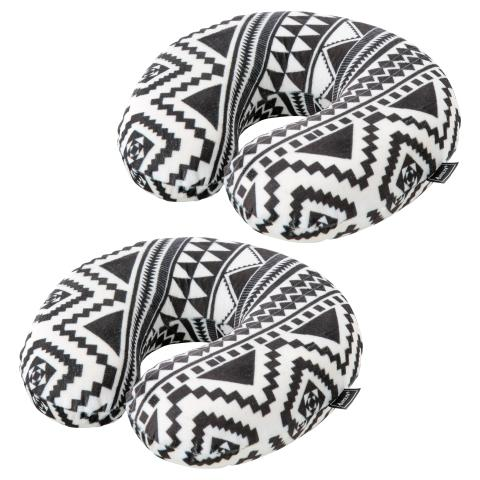 Aerolite Neck Travel Pillow Set of 2 | Black & White