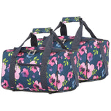 5 Cities (40x20x25cm) Hand Luggage Holdall Flight Bag (x2 Set) - Navy Floral