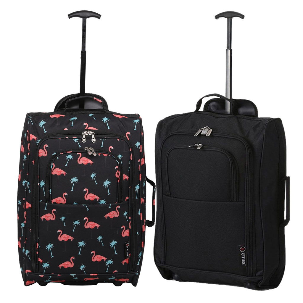 5 Cities (55x35x20cm) Lightweight Cabin Luggage Set | Twin Set | Black Flamingos