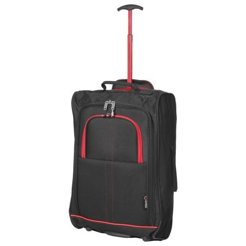 5 Cities (55x35x20cm) Lightweight Cabin Luggage | Black & Red