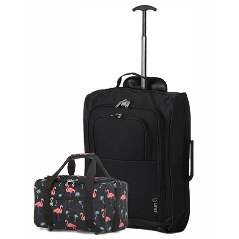 5 Cities (55x35x20cm) Cabin Luggage and Holdall Set | Black Flamingos